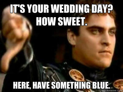 It's your wedding day? How sweet. Here, have something blue. - It's your wedding day? How sweet. Here, have something blue.  Downvoting Roman