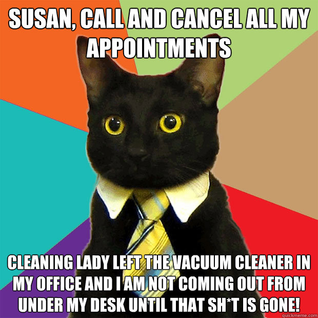 Susan, call and cancel all my appointments cleaning lady left the vacuum cleaner in my office and I am not coming out from under my desk until that sh*t is gone! - Susan, call and cancel all my appointments cleaning lady left the vacuum cleaner in my office and I am not coming out from under my desk until that sh*t is gone!  Business Cat
