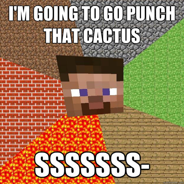 I'm going to go punch that cactus sssssss- - I'm going to go punch that cactus sssssss-  Minecraft