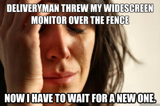 Deliveryman threw my widescreen monitor over the fence Now I have to wait for a new one. - Deliveryman threw my widescreen monitor over the fence Now I have to wait for a new one.  First World Problems
