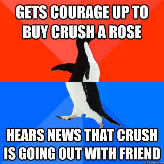 Gets courage up to buy crush a rose  hears news that crush is going out with friend - Gets courage up to buy crush a rose  hears news that crush is going out with friend  Socially Awesome Awkward Penguin