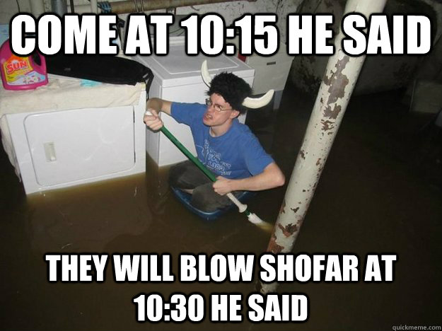 come at 10:15 he said they will blow shofar at 10:30 he said - come at 10:15 he said they will blow shofar at 10:30 he said  Laundry viking