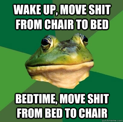 wake up, move shit from chair to bed bedtime, move shit from bed to chair - wake up, move shit from chair to bed bedtime, move shit from bed to chair  Foul Bachelor Frog