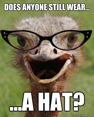Does Anyone Still Wear... ...a hat?  Judgmental Bookseller Ostrich
