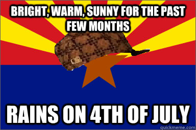 bright, warm, sunny for the past few months rains on 4th of july