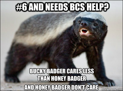 #6 and needs BCS help? Bucky Badger cares less than honey badger And Honey Badger Don't Care  Honey Badger