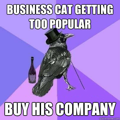 Business cat getting too popular Buy his company  Rich Raven