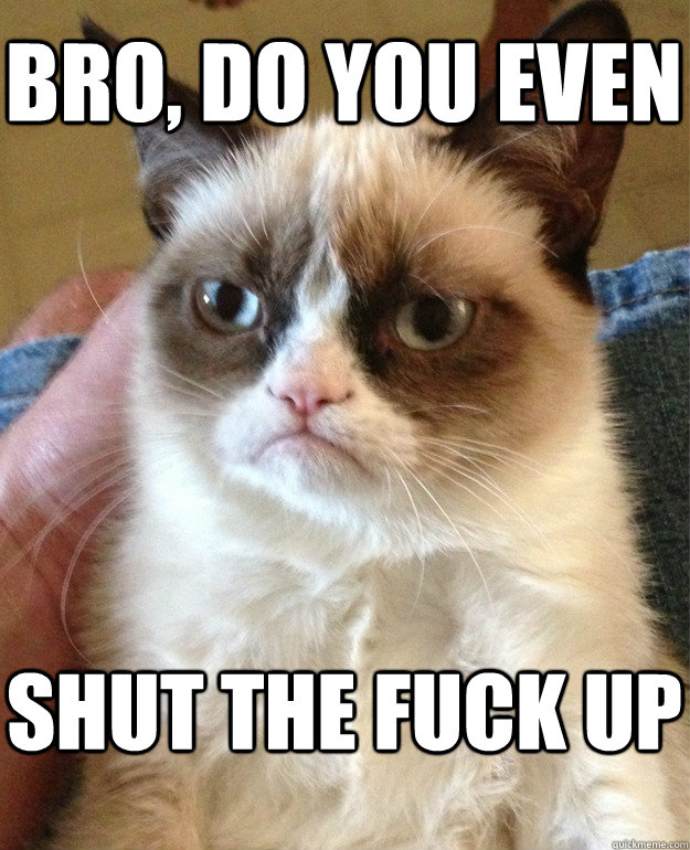 bro, do you even shut the fuck up  Grumpy Cat