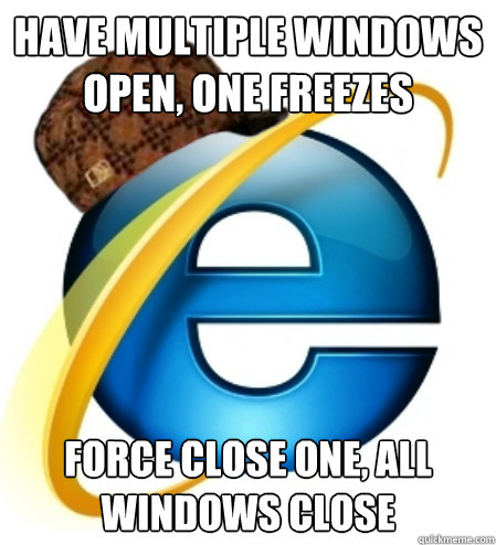Have multiple windows open, one freezes Force close one, all windows close