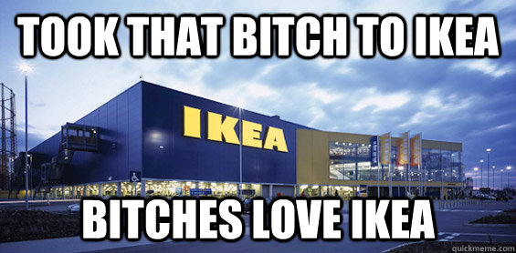 took that bitch to ikea bitches love Ikea