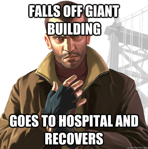 falls off giant building goes to hospital and recovers