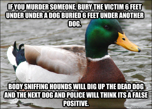 If you murder someone, bury the victim 6 feet under under a dog buried 6 feet under another dog. Body sniffing hounds will dig up the dead dog and the next dog and police will think its a false positive. - If you murder someone, bury the victim 6 feet under under a dog buried 6 feet under another dog. Body sniffing hounds will dig up the dead dog and the next dog and police will think its a false positive.  Actual Advice Mallard