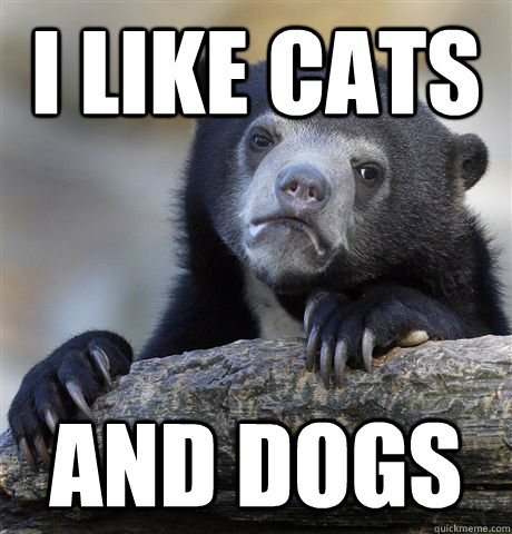I like cats and dogs  - I like cats and dogs   Confession Bear