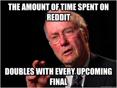 The amount of time spent on reddit doubles with every upcoming final - The amount of time spent on reddit doubles with every upcoming final  Misc