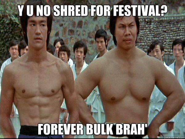 Y u no shred for festival? Forever Bulk brah' - Y u no shred for festival? Forever Bulk brah'  Bruce lee and Bolo