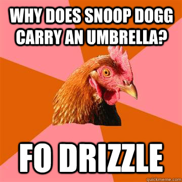 Why does snoop dogg carry an umbrella? Fo drizzle  Anti-Joke Chicken