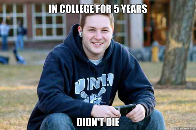 In college for 5 years didn't die - In college for 5 years didn't die  College Senior