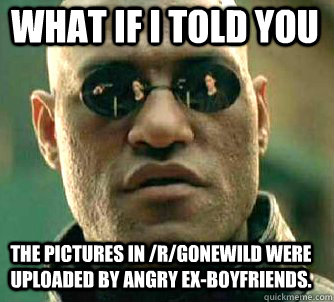 what if i told you The pictures in /r/gonewild were uploaded by angry ex-boyfriends. - what if i told you The pictures in /r/gonewild were uploaded by angry ex-boyfriends.  Matrix Morpheus