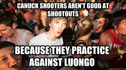 Canuck shooters aren't good at shootouts because they practice against Luongo - Canuck shooters aren't good at shootouts because they practice against Luongo  Sudden Clarity Clarence