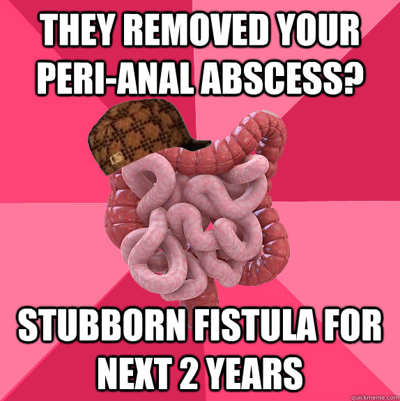 they removed your peri-anal abscess? stubborn fistula for next 2 years - they removed your peri-anal abscess? stubborn fistula for next 2 years  Scumbag Intestines