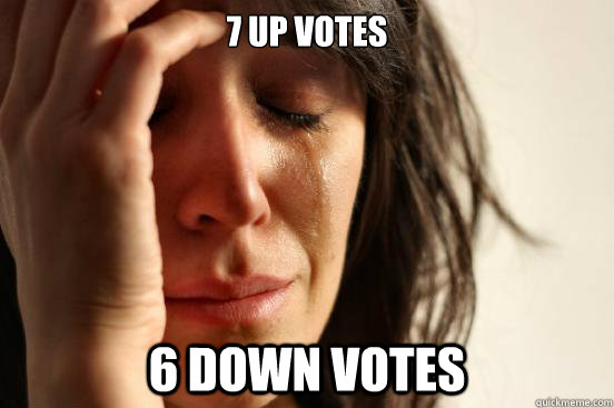 7 up votes 6 down votes - 7 up votes 6 down votes  First World Problems