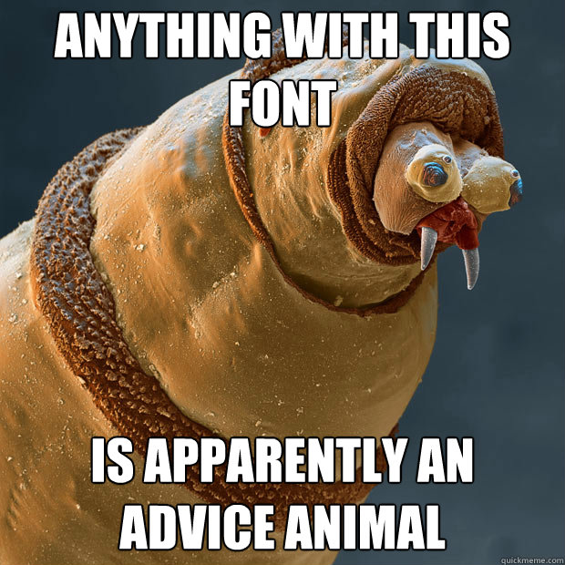 Anything with this font Is apparently an advice animal