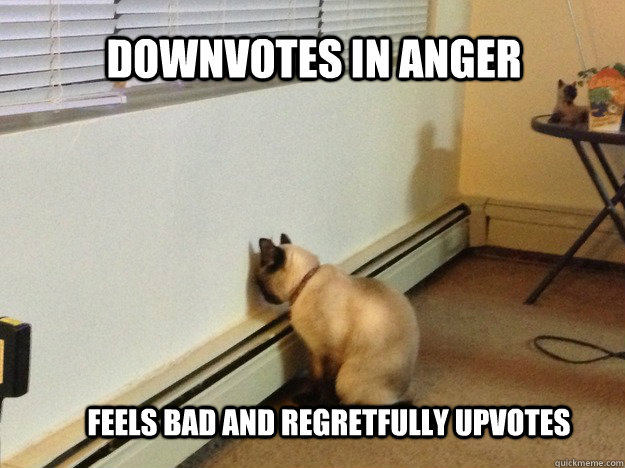 Downvotes in anger Feels bad and regretfully upvotes - Downvotes in anger Feels bad and regretfully upvotes  Misc