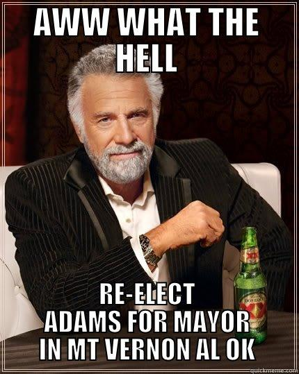 AWW WHAT THE HELL RE-ELECT ADAMS FOR MAYOR IN MT VERNON AL OK The Most Interesting Man In The World