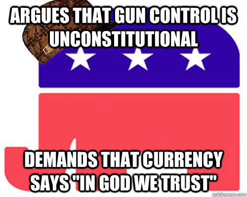 Argues that gun control is unconstitutional Demands that currency says