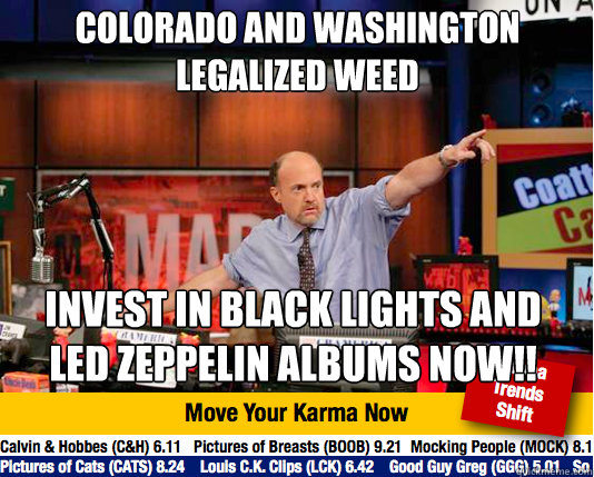 Colorado and Washington legalized weed  Invest in black lights and Led Zeppelin albums now!! - Colorado and Washington legalized weed  Invest in black lights and Led Zeppelin albums now!!  Mad Karma with Jim Cramer