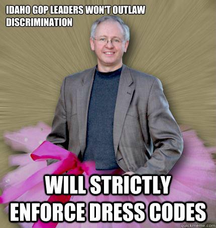 Idaho GOP leaders won't outlaw discrimination Will strictly enforce dress codes  Idaho tutu man