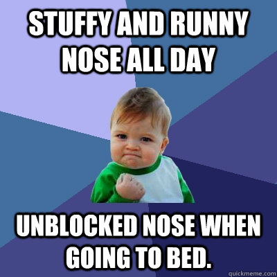 Stuffy and runny nose all day unblocked nose when going to bed.  - Stuffy and runny nose all day unblocked nose when going to bed.   Success Kid