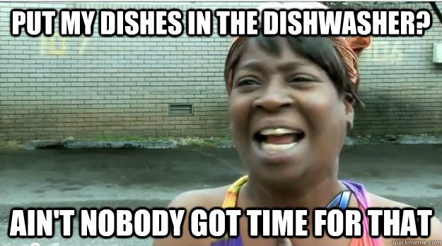 Put my dishes in the dishwasher? AIN'T NOBODY GOT TIME FOR that - Put my dishes in the dishwasher? AIN'T NOBODY GOT TIME FOR that  AINT NO BODY GOT TIME FOR DAT