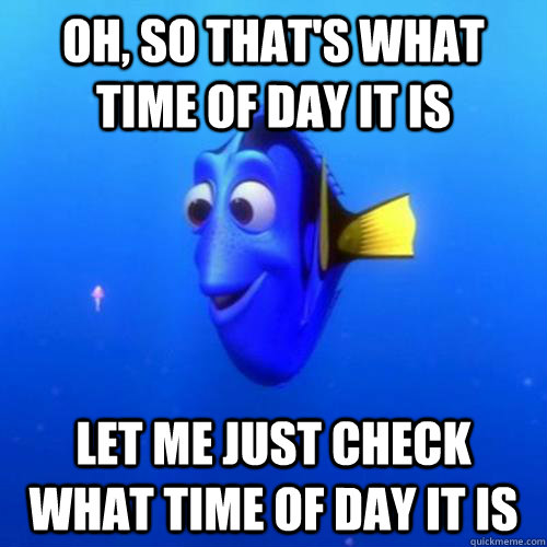 Oh, so that's what time of day it is Let me just check what time of day it is - Oh, so that's what time of day it is Let me just check what time of day it is  dory