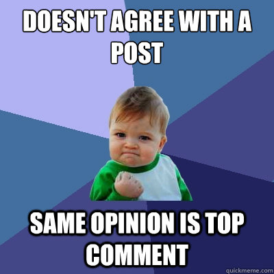 Doesn't agree with a post same opinion is top comment - Doesn't agree with a post same opinion is top comment  Success Kid