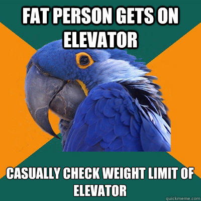 Fat person gets on elevator Casually check weight limit of elevator - Fat person gets on elevator Casually check weight limit of elevator  Paranoid Parrot