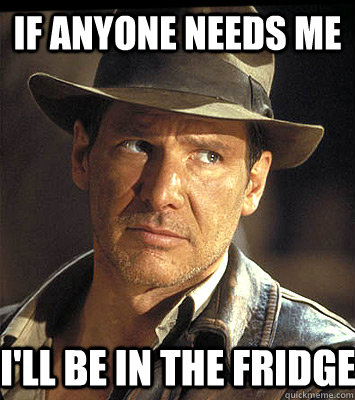 If anyone needs me I'll be in the fridge - If anyone needs me I'll be in the fridge  Indiana jones