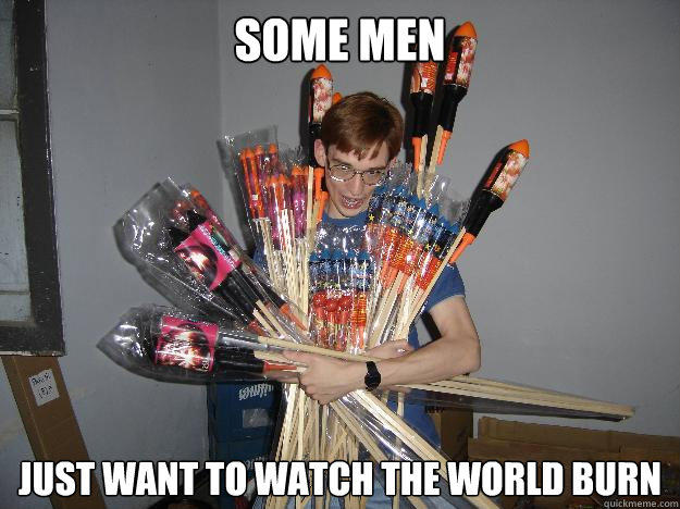 SOME MEN just want to watch the world burn  Crazy Fireworks Nerd