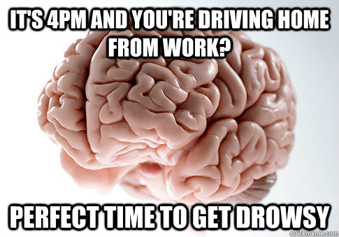 It's 4PM and you're driving home from work? Perfect time to get drowsy - It's 4PM and you're driving home from work? Perfect time to get drowsy  ScumbagBrain