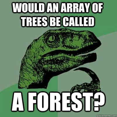 would an array of trees be called a forest?  - would an array of trees be called a forest?   Misc