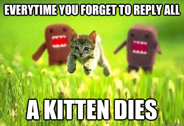Everytime you forget to Reply All A kitten dies  Reply All
