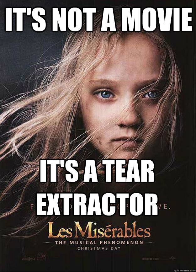 It's not a movie It's a tear extractor  Les Miserables