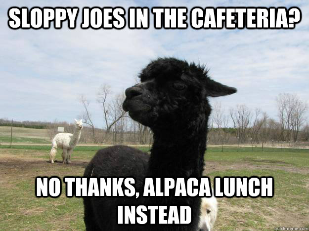Sloppy Joes in the cafeteria? No thanks, Alpaca lunch instead - Sloppy Joes in the cafeteria? No thanks, Alpaca lunch instead  Picky Alpaca