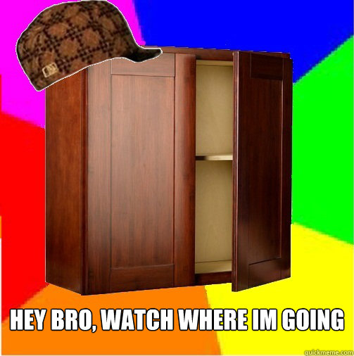 hey bro, watch where im going -  hey bro, watch where im going  Scumbag Cabinet