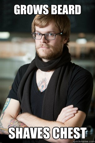 GROWS BEARD SHAVES CHEST  Hipster Barista