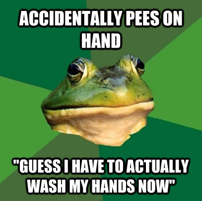 ACCIDENTALLY PEES ON HAND
