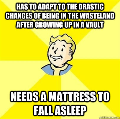 Has to adapt to the drastic changes of being in the wasteland after growing up in a vault needs a mattress to fall asleep