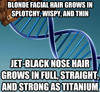 11fc07b7264e95906128d94d588fbe2685804fb2ccf3b717331662b98e1f68e2 blonde facial hair grows in splotchy, wispy, and thin jet black,Nose Hair Meme