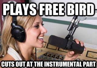 Plays Free Bird Cuts out at the instrumental part - Plays Free Bird Cuts out at the instrumental part  scumbag radio dj