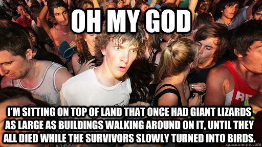 oh my god I'm sitting on top of land that once had giant lizards as large as buildings walking around on it, until they all died while the survivors slowly turned into birds. - oh my god I'm sitting on top of land that once had giant lizards as large as buildings walking around on it, until they all died while the survivors slowly turned into birds.  Sudden Clarity Clarence